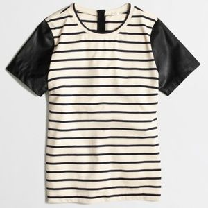 J Crew Vegan Leather Sleeves Striped Tee Size S